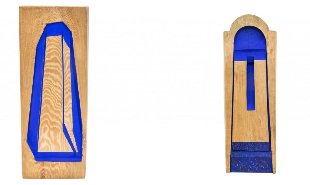 Poliperspektiva III, 2006-08, drvo, boja, 72 x 27, 5 x 4,5 cm Luneta, 2000, drvo, boja, 100 x 34 x 6 cm