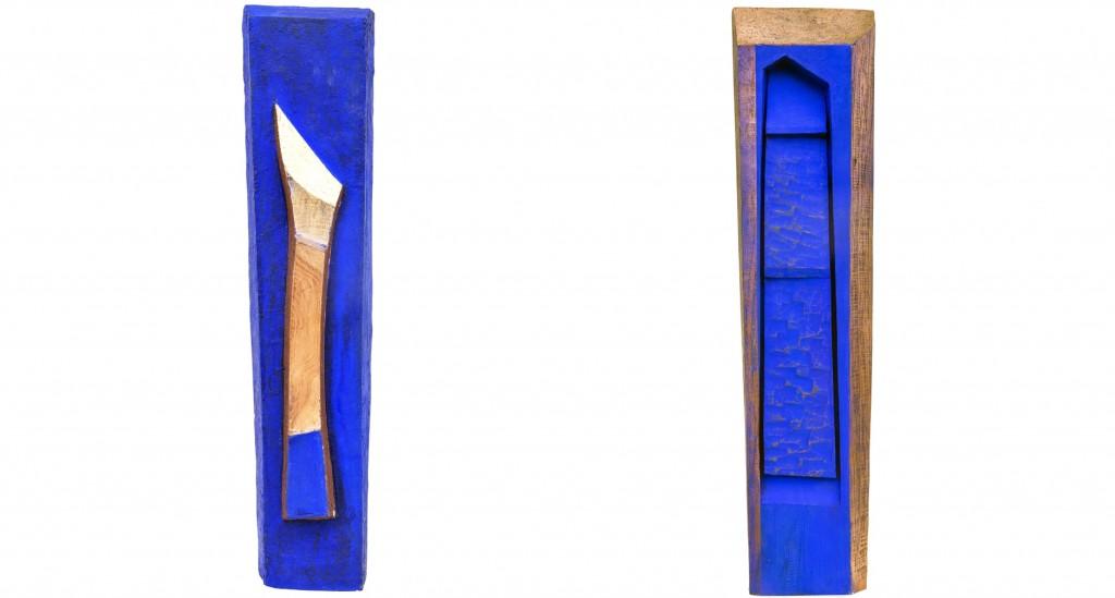 Bez naziva, 2012, drvo, boja, 54 x 12 x 7 cm Vizantema, 2011, drvo, boja, 103 x 24 x 7 cm