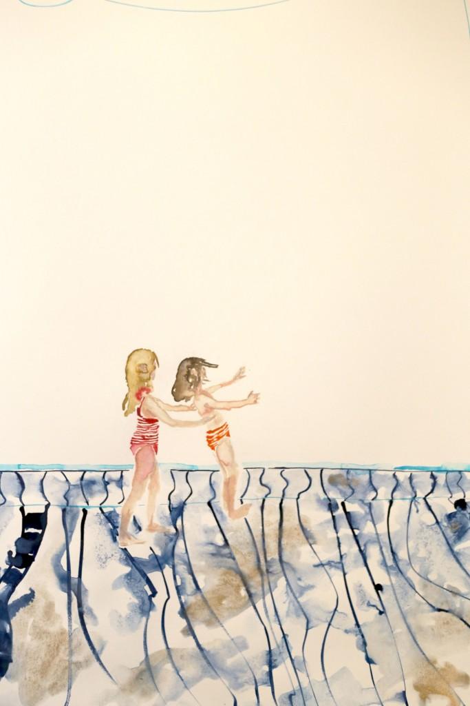 Trust fall, 2017, akvarel,  50 x 70 cm