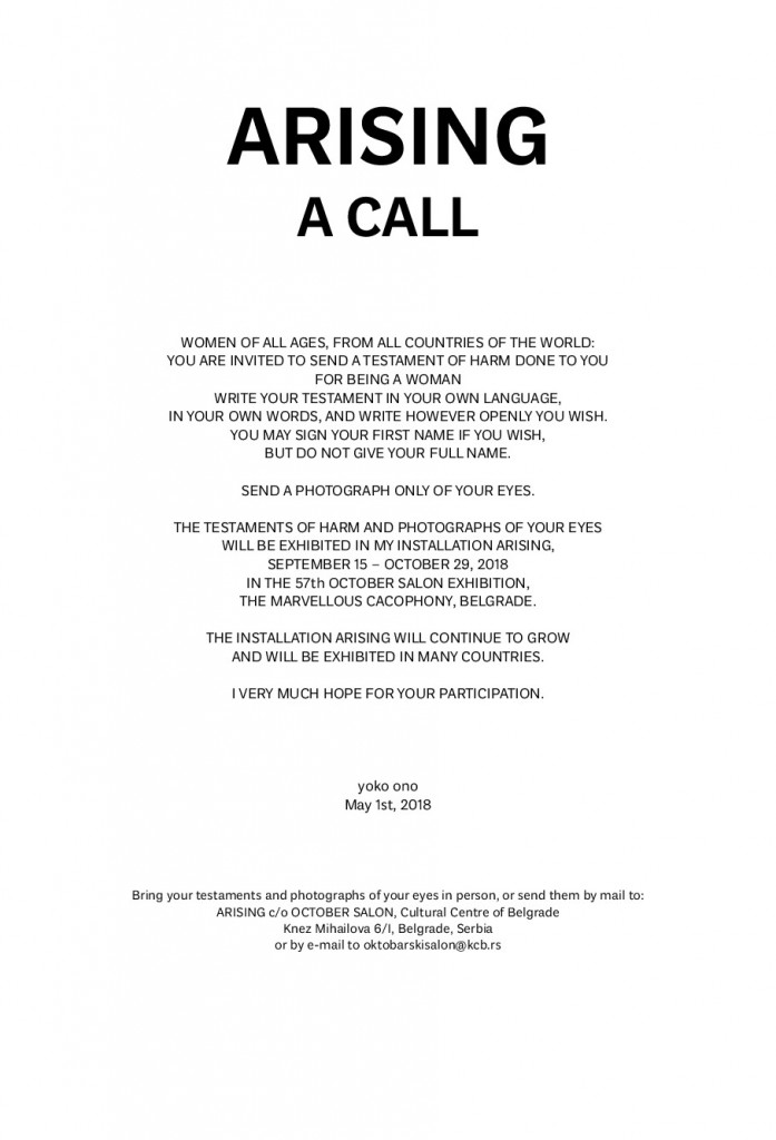 Yoko Ono, Arising, A call, 2013-ongoing
